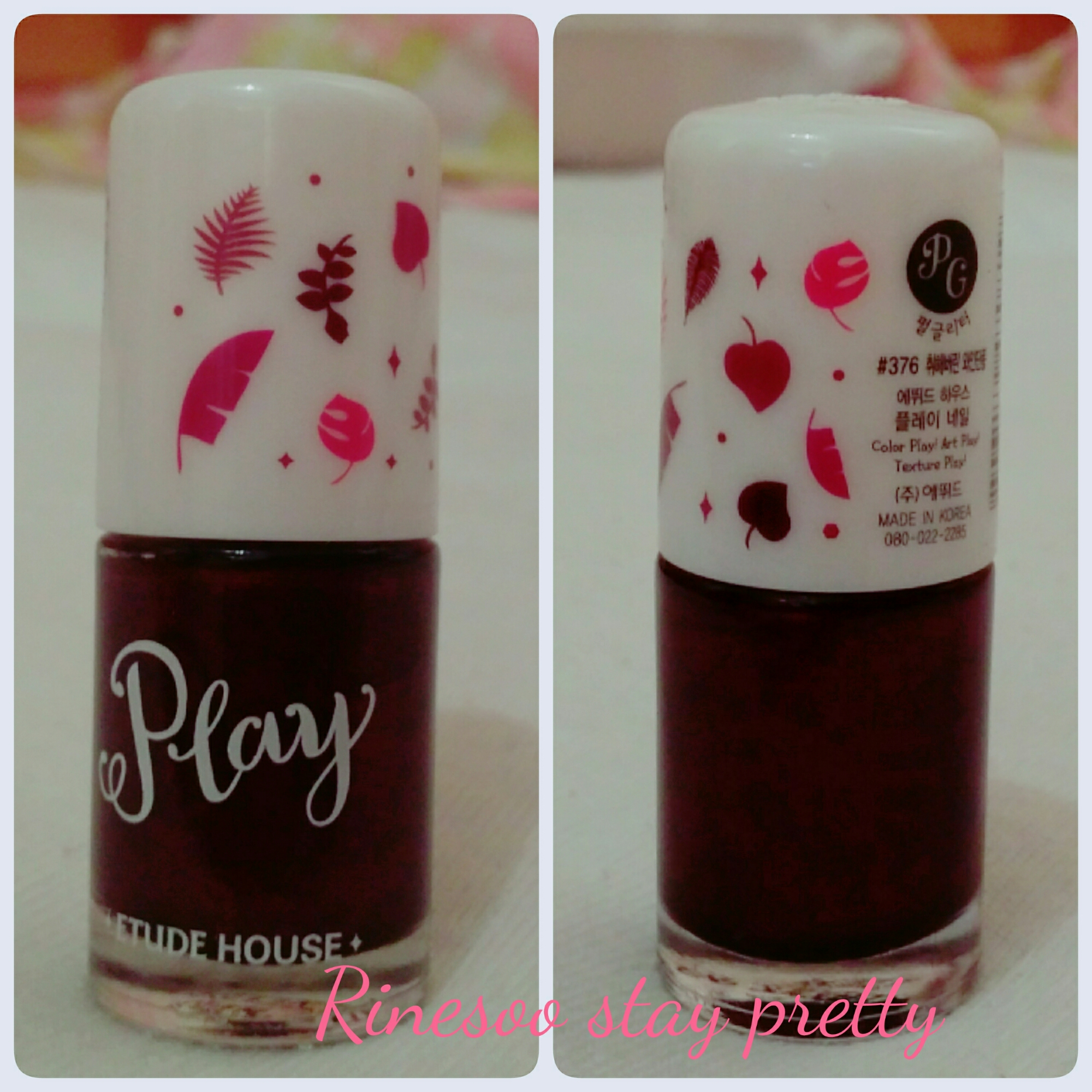 Review Etude House Play nail polish in 376 in wine maple | Stay ...